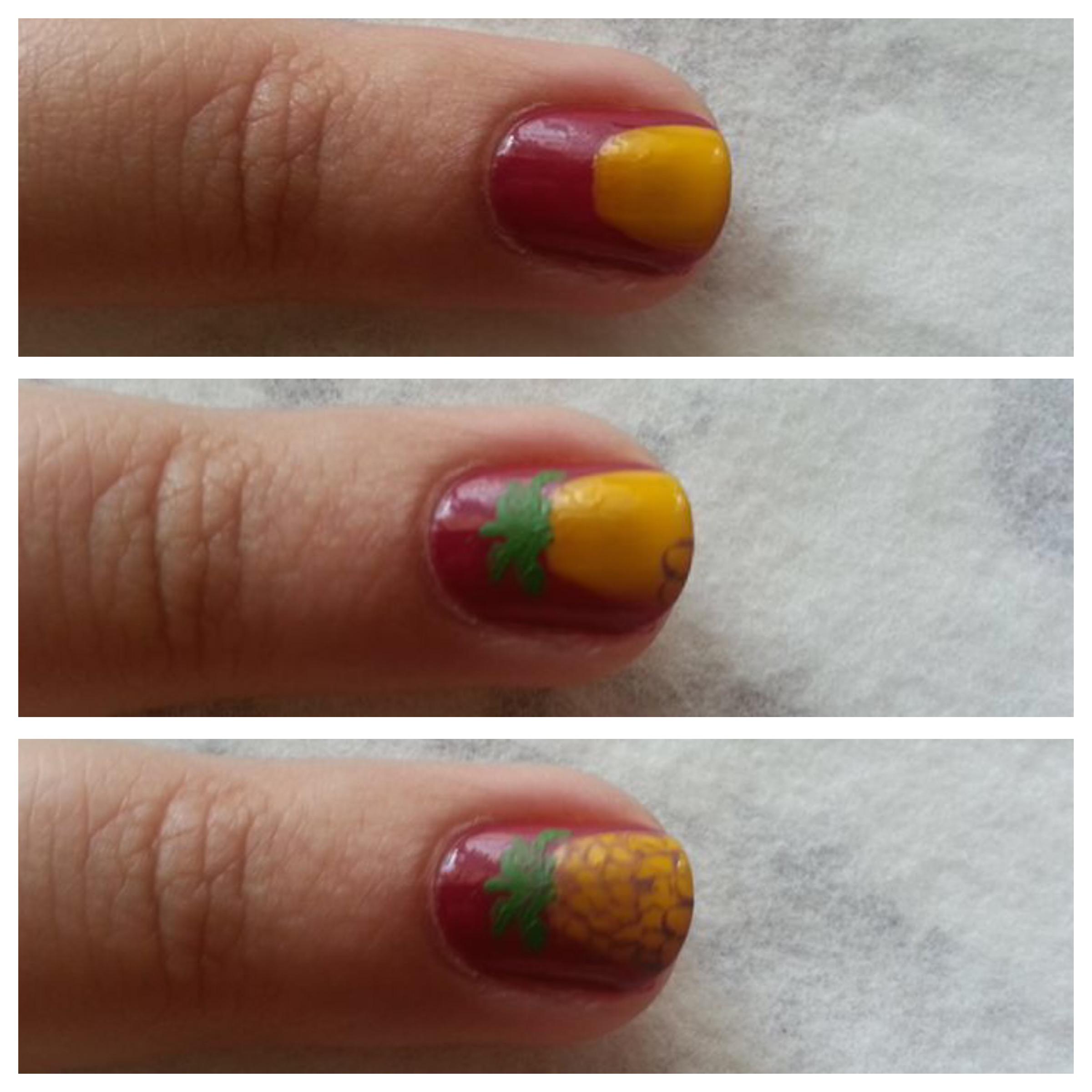 tuto nail art Ananas