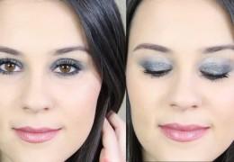 maquillage de fete argenté pailette